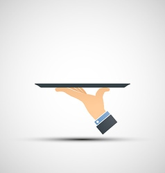 Logo hand holding a tray vector image