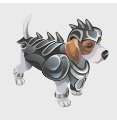 Dog warrior in knights armor cartoon animal vector