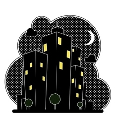 Night city houses vector