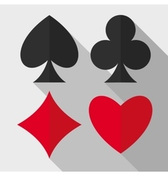 Playing cards suits flat icons vector
