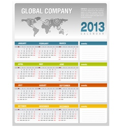 2013 corporate calendar template vector