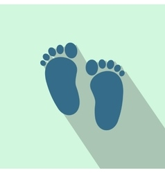 Baby footprints flat icon vector