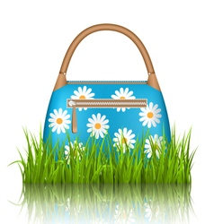 Blue woman spring bag with chamomiles flowers in vector