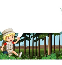 Border design with boy camping out vector