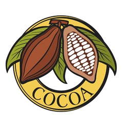 Cacao - cocoa beans label vector