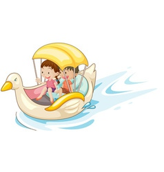 Children in boat vector image vector image