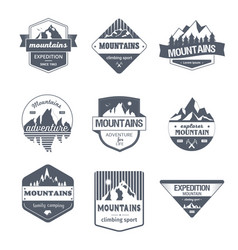climbing sport - vintage set of logos vector image