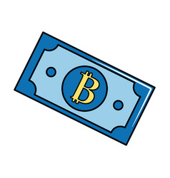 Digital bitcoin bill and electronic financial vector