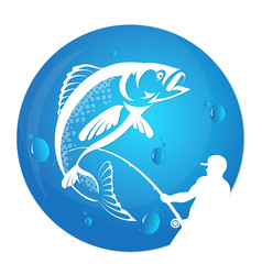 Fisherman draws fish silhouette vector