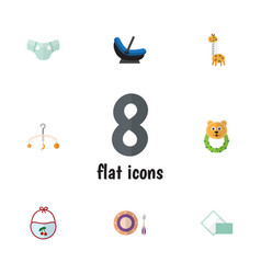 Flat child set of toy napkin baby plate and vector