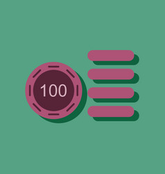 Flat icon design collection casino stuff chip in vector