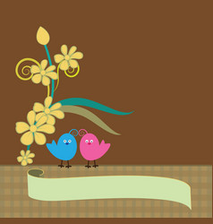 Floral background with love birds image vector
