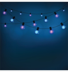 Glowing garland light bulbs vector