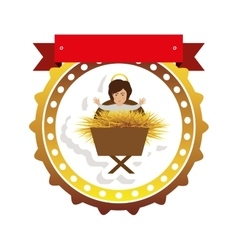 Golden border sticker with baby jesus and label vector