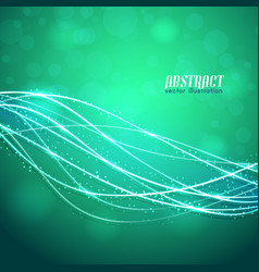green background with neon threads vector image