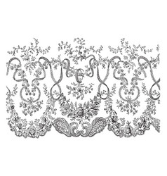 Lace veil this is a portion of the border vintage vector