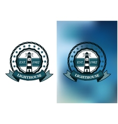 Lighthouse marine round emblem or badge vector image