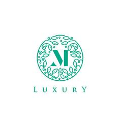 m letter logo luxurybeauty cosmetics logo vector image