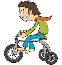 Man riding bicycle vector