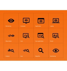 Monitoring icons on orange background vector image vector image