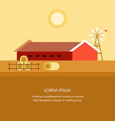 Rural Farm Landscape Red Farm Barn Flat Style vector image vector image