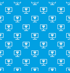 screen with diamond pattern seamless blue vector image vector image