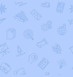 seamless pattern on light blue - business icons vector image