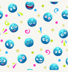 Seamless pattern with funny blue round characters vector