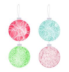 set of hand drawn watercolor christmas balls vector image