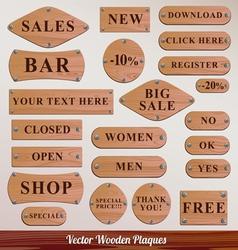 Set Wooden plaque vector image