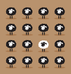 single white sheep in black sheep group on brown vector image