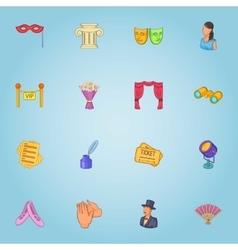 Theatre icons set cartoon style vector
