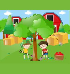 two boys planting big tree in garden vector image vector image