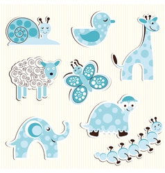 Set of fun zoo for a boy vector