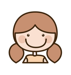 color silhouette cartoon half body girl with brown vector image