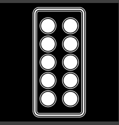 Pills in blister the white color icon vector