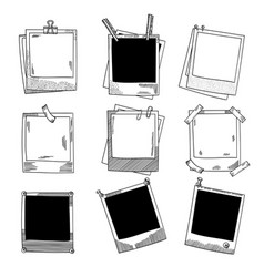 hand drawn photo frames vintage vector image