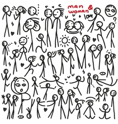 Man and woman  people - doodles set vector