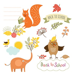 set of back to school elements vector image