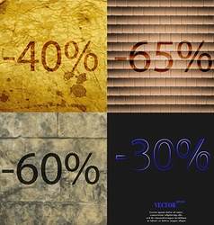65 60 30 icon set of percent discount on abstract vector