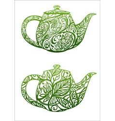 Green tea concept kettle with floral ornament vector