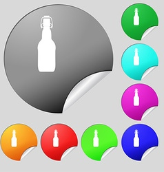 Bottle icon sign set of eight multi colored round vector