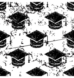 Academic cap pattern grunge monochrome vector