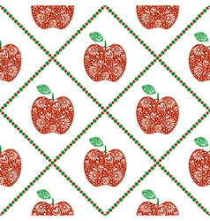 Pattern with red decorative ornamental apples and vector