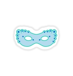 Stylish paper sticker on white background carnival vector