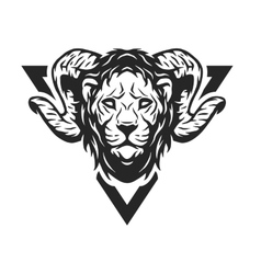 Lion head with antlers vector image
