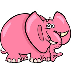Pink elephant cartoon vector