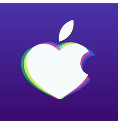 White apple in the shape of heart on a vector