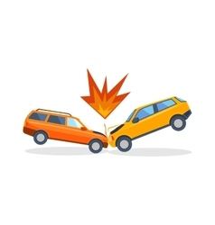 Accident road on street damaged automobiles after vector image