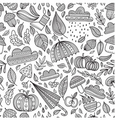 autumn seamless pattern colorless vector image vector image
